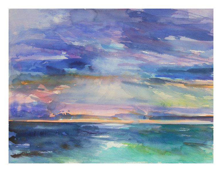 """Sunrise Island"", original watercolor painting, 18"" H x 24"" W, unframed. $325"