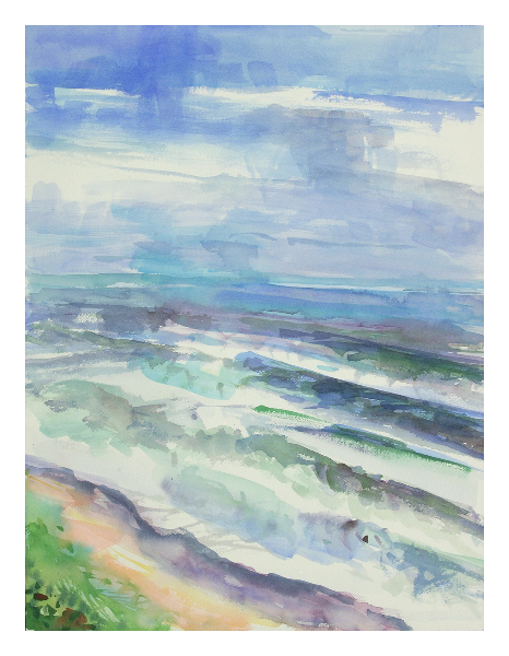 """Counting Waves"", original watercolor painting, 24"" H x 18"" W, unframed. $325 (on display at THE ART BOX)"